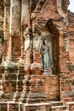 Estátua budista em Wat Mahathat em Ayutthaya, Tailândia Foto de Stock Royalty Free