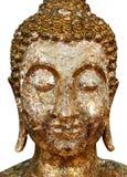 A estátua da Buda, buddha dourado enfrenta o close-up da estátua isolado no fundo branco Fotos de Stock Royalty Free