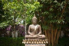 Estátua da Buda no jardim da natureza no templo de Tailândia Imagem de Stock