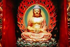Estátua da Buda que senta-se na meditação e no nirvana de espera com mãos no gesto ritual Dentro do templo da relíquia do dente d fotos de stock royalty free
