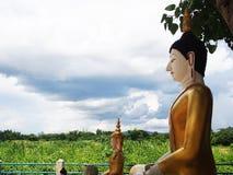 Estátua da Buda que senta-se sob a árvore de Bodhi com fundo do céu azul Fotografia de Stock Royalty Free