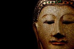 Estátua da cabeça da Buda com espaço preto no fundo fotografia de stock royalty free