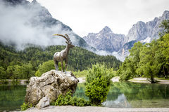 Estátua da cabra-montesa na vila de Kranjska Gora Imagem de Stock Royalty Free