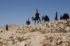 Estátua da caravana no local do UNESCO de Addat Imagens de Stock Royalty Free