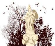 Estátua de Athena da beleza com pássaros ilustração stock