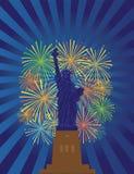 Estátua da ilustração do vetor de Liberty Fireworks Night ilustração do vetor