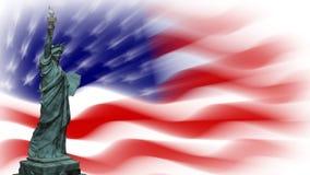 Estátua da liberdade com bandeira dos EUA, laço ilustração stock