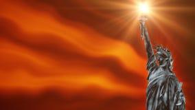 Estátua da liberdade com o fundo que acena, laço do fogo ilustração stock