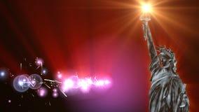 Estátua da liberdade e fogos-de-artifício ilustração do vetor