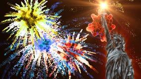 Estátua da liberdade e fogos-de-artifício coloridos ilustração royalty free