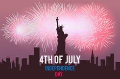 Estátua da liberdade e fogos-de-artifício na paisagem da cidade da noite ô julho Dia da Independência de América Ilustração do ve Imagem de Stock
