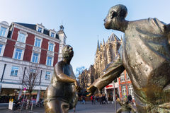 Estátua de bronze em Aix-la-Chapelle, Alemanha Fotos de Stock