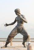 Estátua de Bruce Lee na avenida das estrelas, Hong Kong fotos de stock royalty free