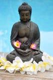 Estátua de Buddha com as flores por Associação Imagem de Stock