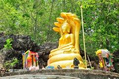 Estátua de buddha do ouro coberta por um estilo de sete naga Imagem de Stock Royalty Free
