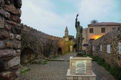 Estátua de Don Quixote em Nafpaktos Fotos de Stock