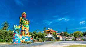 A estátua de Guan Yu em Phuket, Tailândia Fotografia de Stock