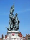 Estátua de janeiro Breydel, Pieter de Coninck em Bruges Imagens de Stock Royalty Free