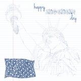 Estátua de liberdade com bandeira americana Crie na arte do garrancho Projeto para a celebração EUA de quarto julho Símbolo ameri Foto de Stock