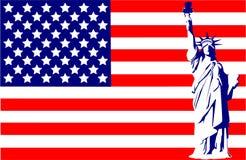 Estátua de liberdade na bandeira   Fotos de Stock