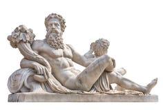 Estátua de mármore do deus grego com cornucópia em suas mãos Foto de Stock