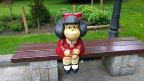 Estátua de Mafalda em Oviedo, Espanha Fotos de Stock Royalty Free