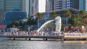 Estátua de Merlion em Marina Bay Fotografia de Stock Royalty Free