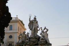 Estátua de Netuno em Roma Itália Fotos de Stock Royalty Free