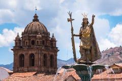 Estátua de Pachacuti, Cusco, Peru imagens de stock royalty free