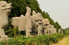Estátua de pedra antiga dos protetores e do Amimals em túmulos da dinastia de música, China imagem de stock