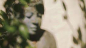 Estátua de pedra atrás das folhas, foco movente da Buda filme