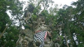 Estátua de pedra na floresta do macaco de Sangeh em Bali filme