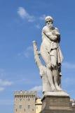 Estátua de Ponte Santa Trinita Winter em Florença Fotografia de Stock