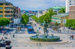 Estátua de Poseidon em Gothenburg do centro Imagens de Stock