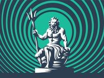 Estátua de Poseidon ou de Netuno com um tridente ilustração stock