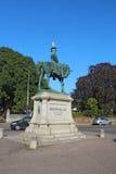 Estátua de Redvers Buller com o cone do tráfego em Exeter, Reino Unido Imagem de Stock