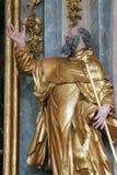 Estátua de Saint na igreja da concepção imaculada em Lepoglava, Croácia Foto de Stock Royalty Free