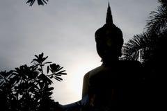 Estátua de Sihuoette buddha no por do sol fotos de stock royalty free