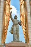 Estátua de Somoni Dushanbe, Tajikistan Imagem de Stock