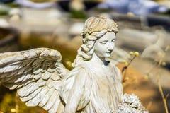 Estátua de um anjo com as asas na luz do sol Foto de Stock