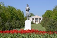 Estátua de um fazendeiro coletivo em um suporte O legado da era soviética Uma cama de flor com tulipas e as árvores novas dentro Imagem de Stock Royalty Free