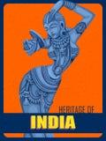 Estátua do cartaz do vintage da escultura fêmea indiana ilustração do vetor