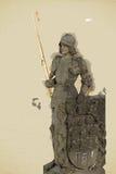 A estátua do cavaleiro de Bruncvik, ponte de Charles, Praga, illustrat Imagens de Stock