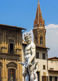 Estátua do close up de Netuno em Florença, Itália Fotos de Stock Royalty Free