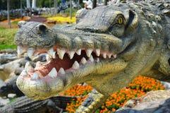 estátua do crocodilo Fotografia de Stock