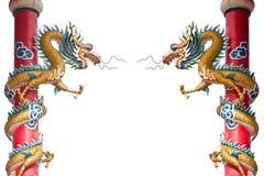 Estátua do dragão em colunas Foto de Stock Royalty Free
