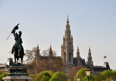Estátua do duque Charles do arco, câmara municipal de Viena Imagem de Stock Royalty Free