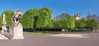 Estátua do leão e Palais grande em Paris na mola Fotografia de Stock Royalty Free