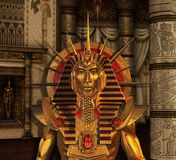 Estátua do Pharaoh na câmara de enterro Fotos de Stock Royalty Free