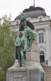 Estátua do poeta esloveno France Preseren em Ljubljana, Eslovênia imagem de stock royalty free